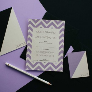 Chevron wedding stationery