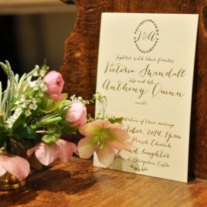blush and gold wedding stationery